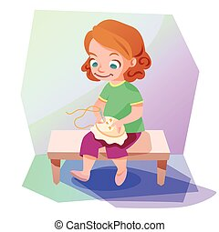 Girl doing a cross stitching vector illustration