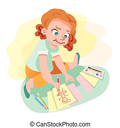 Girl drawing on paper vector illustration