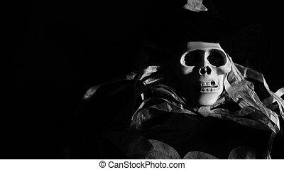 Scary skull monster in the dark - Scary skull monster...