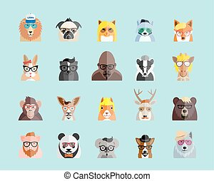 Flat Style Hipster Animals Avatar Vector Portraits or Icon...