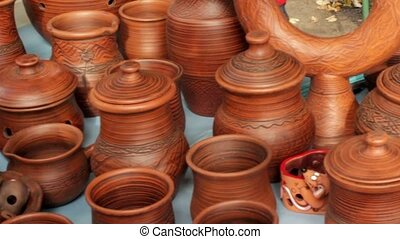pottery at crafts fair in Siberia - beautiful pottery...