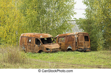 Two rusty car without wheels stand on forest background