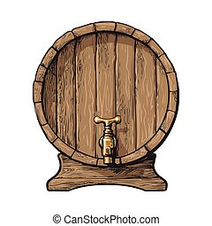 Front view of sketch style wooden barrel with tap - Wooden...