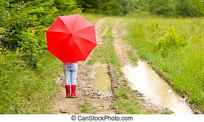 girl with red umbrella - girl with a red umbrella on the...