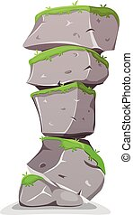 Boulders Tower With Grass - Illustration of a cartoon...