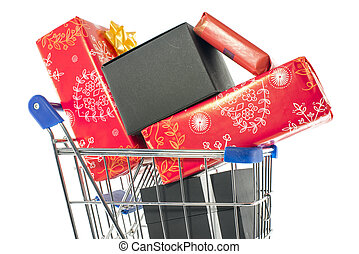shopping cart with presents in red and black isolated on...
