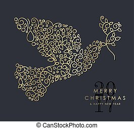 Gold Christmas and new year ornamental dove bird - Merry...