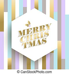 Gold christmas card design on geometric background