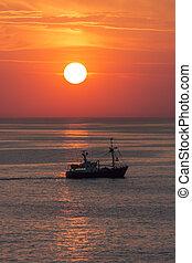 Fishing Trawler - The North Sea - Sunset - A fishing trawler...