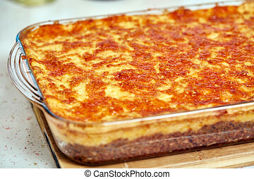 Cottage pie in a casserole - Glass casserole with cottage...