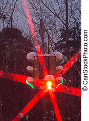 red and green signal of traffic light in winter