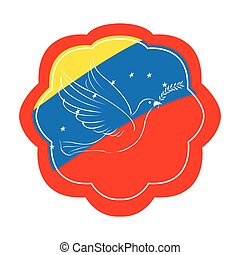 Conceptual peace - Isolated label with the venezuelan flag...