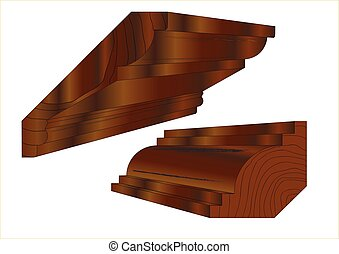 Hardwood Stained Cornice - Cornice profile sections.