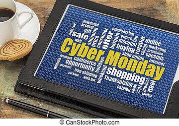 Cyber Monday online shopping concept