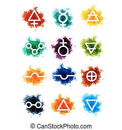 Alchemy vector signs on paint drops