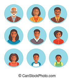 African American family happy faces flat avatars - African...