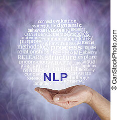 Neuro Linguistic Programming words - Male hand palm up with...