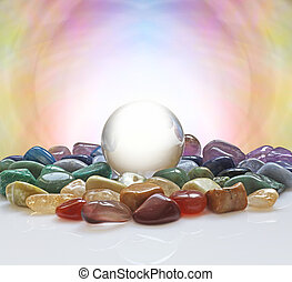 Crystal ball and healing crystals - Large clear crystal ball...
