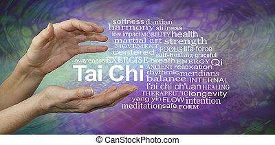 Tai Chi Benefits Word Cloud - Female hands cupped around the...