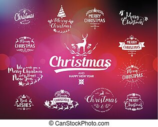 Merry Christmas lettering typography. Handwriting text...