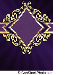 diamond shaped purple and gold banner - stylish vertical...