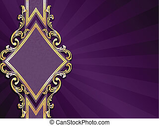 diamond shaped purple & gold banner - stylish horizontal...