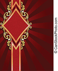diamond shaped red and gold banner
