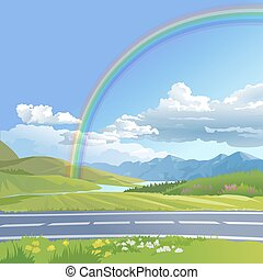 Vector illustration of a hilly landscape with rainbow