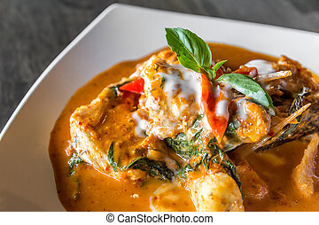 Fish with Red Curry Paste - Fried grouper Fish with Red...