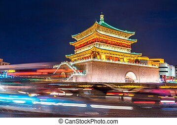 Xian bell tower chonglou in Xian ancient city of China at...