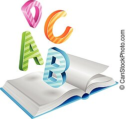 Flying Striped Letters and Open Book