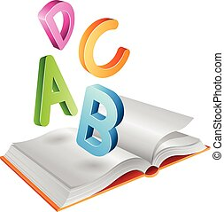 Open Book and Flying Letters - Vector Illustration of Open...