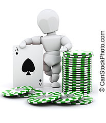 man with casino chips and playing cards