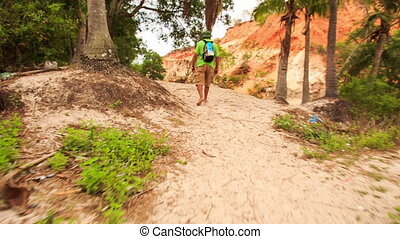 Tourist Photos Fairy-Stream Rocky Slope from Hill in Park -...