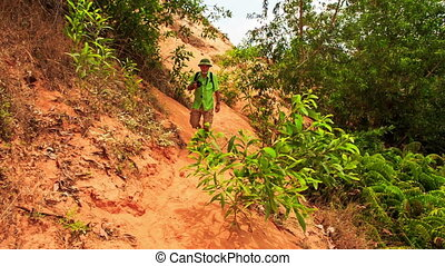 Tourist Old Man Walks along Fairy-Stream Slope past Plants -...