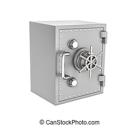 Rendering of steel safe box, isolated on white background -...