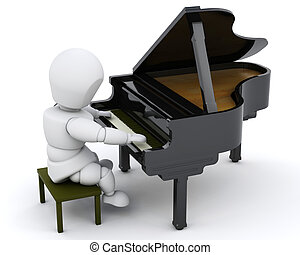 man playing a grand piano - 3D render of a man playing a...