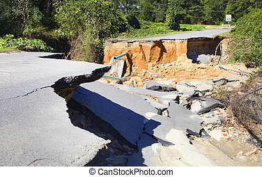 Road ruined by Hurricane Matthew - Road near Raeford North...