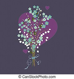 Flower bouquet with hearts.