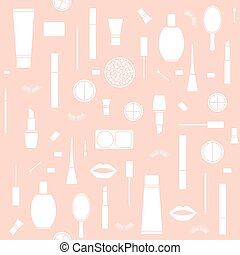 seamless pattern background with Makeup products in vector