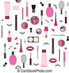 seamless pattern background with Makeup products - seamless...