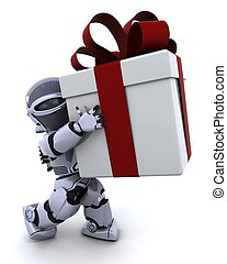 robot carrying christmas gift box with bow - 3D render of a...