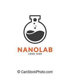 Nano lab logo template, vector science icon