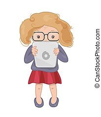 Girl with tablet Vector icon