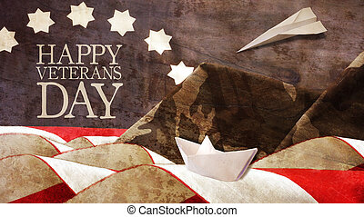 Happy Veterans Day. Flag and Mimetic Mountains. Paper Boat...