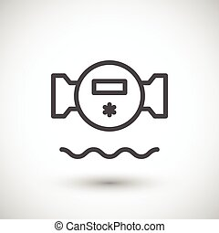 Water meter line icon isolated on grey. Vector illustration