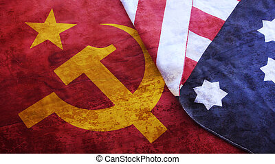 Usa Flag on Urss Flag. Cold War.