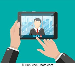 Online conference. Internet meeting, video call - Hands with...
