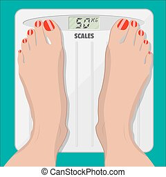 electronic scales and female feet with pedicure