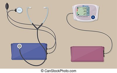 modern and classic blood pressure measuring - modern digital...